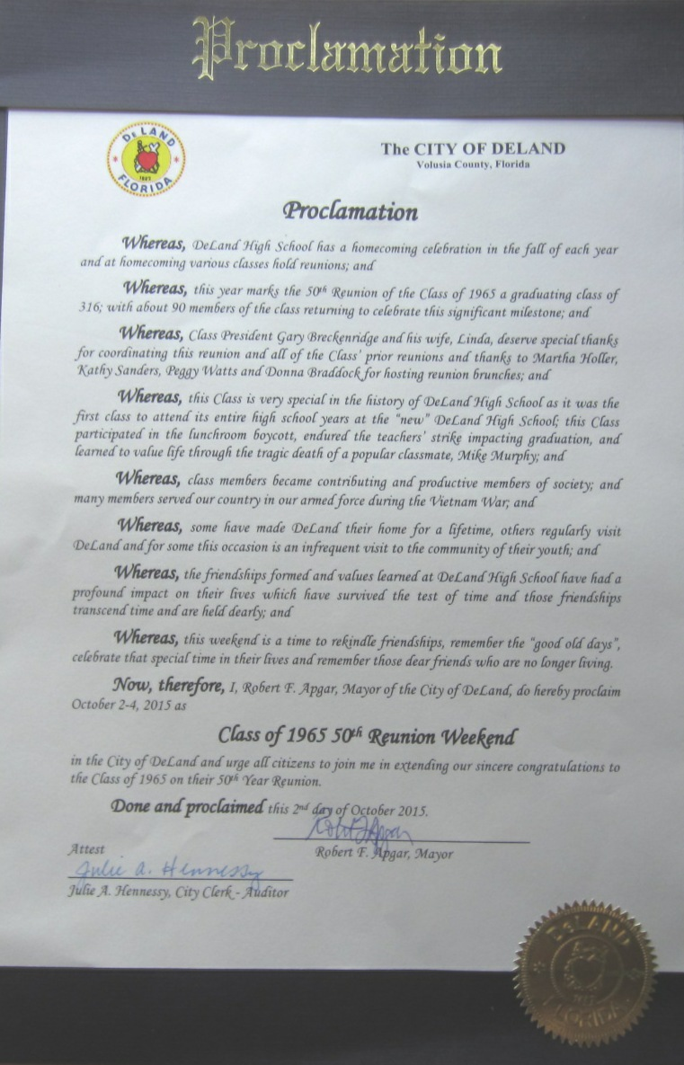 50th Reunion Proclamation